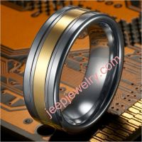 MODERN SUCCINCT GOLD-BAR TUNGSTEN RING