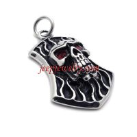 316 l stainless steel skeleton head facial pendant jewelry