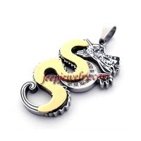 Stainless steel jewelry (golden) trend men's titanium steel necklace pendant dragon