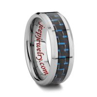 8MM BLUE AND BLACK TUNGSTEN CARBON FIBER RING BEVELED