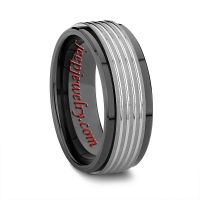 8MM BLACK CERAMIC WEDDING BAND WITH TUNGSTEN GROOVED