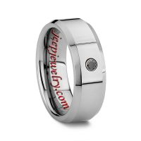 6MM OR 8MM MEN'S TUNGSTEN BLACK DIAMOND RINGS WITH STONE AND BEVELED EDGES