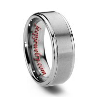 8MM SATIN BRUSHED TUNGSTEN RING FOR MEN STEPPED EDGE