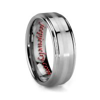 6MM OR 8MM PLATINUM INLAY MENS TUNGSTEN WEDDING BANDS STEEPED