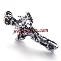 Cross stainless steel pendant jewelry skull pendant (red eye) male money necklace