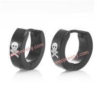 Black Stainless Steel Pirates Skull Men's Hoop Earrings
