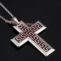 Stunning Stainless Steel Wood Greek Cross Pendant Mens Necklace