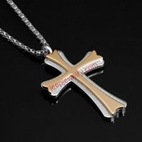 Stunning Greek Cross Mens Stainless Steel Pendant Chain Silver Gold