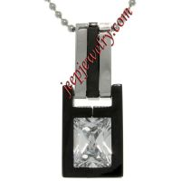 Stainless Steel Cubic Zirconia Two-Tone Geometric Pendant Necklace