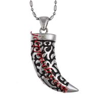 Stainless Steel Large Buffalo Horn Necklace