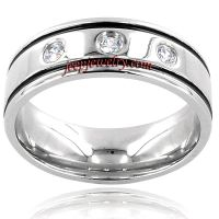 Stainless Steel Men's Cubic Zirconia Band
