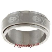 Stainless Steel Skull and Crossbones Spinner Ring