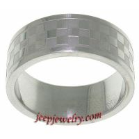 Stainless Steel Checker Pattern Ring