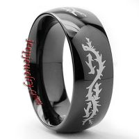 Men\'s Black-plated Stainless Steel Barbed Wire Ring (8mm)