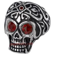 Stainless Steel Men's Red Cubic Zirconia Eyes Skull Ring