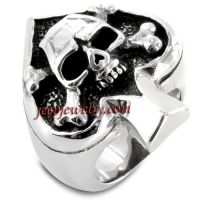 Stainless Steel Spade Ace Crossbones Death Skull Ring