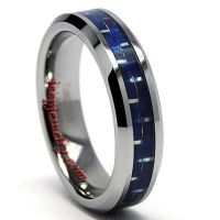 Tungsten and Blue Carbon Fiber Ring