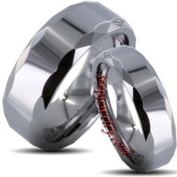 Tungsten Carbide Polished Prism-edged His and Her Wedding Band Set