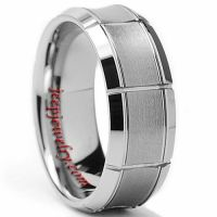 Tungsten Carbide Men\'s Brushed Concave Center Ring (8 mm)