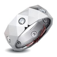 Tungsten Carbide Diamond-cut Cubic Zirconia Band