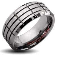 Tungsten Carbide Multi-grooved Beveled Edge Band Ring