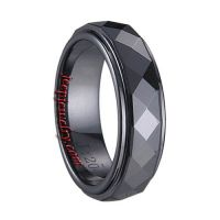 Ceramic Brushed & Polished Shiny Ring Black Ceramic Ring Faceted