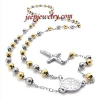 personalized beads and cross stainless steel necklace