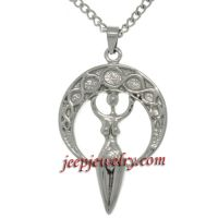 Stainless Steel Goddess Crescent Moon Necklace