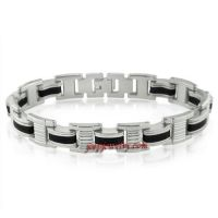 Mens Stainless Steel and Black Rubber Chain Link Bracelet 8 1/4inches