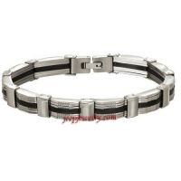 Mens Solid Stainless Steel and Back Rubber Bracelet ( 8 3/4 inches)