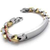 Jewelry Men's Bracelet Stainless Steel, Gold Silver, 9 Inch