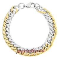 Men\'s Stainless Steel Link Bracelet with Gold Ion-Plated