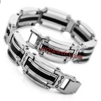 Jewelry Mens Silver Stainless Steel Black Rubber Solid Bracelet Cuff Link Bracelet