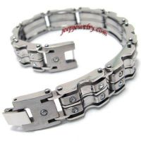Jewelry Mens Stainless Steel Cubic Zirconia Bracelet Bangle - Silver - 8.8 Inch