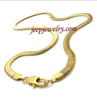 stainless steel flat snake shape necklace