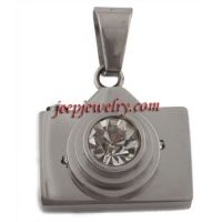 Silver Camera and Lens with Rhinestones Stainless Steel Pendant