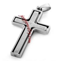 Kayier Jewelry Stainless Steel Pendant Necklace Men Silver Bible Cross