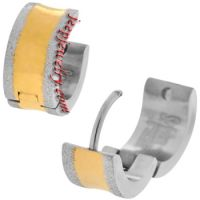 Jewelry Thick Gold PVD Stripe 316L Stainless Steel Huggy Earrings