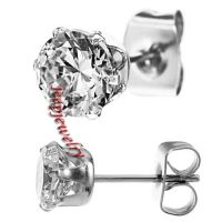 316L Stainless Steel Clear Cz Stud Earrings