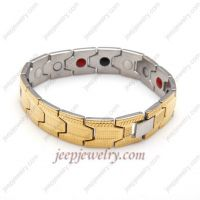 Golden grain gems stainless steel bracelet