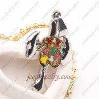 colorful flower stainless steel sword-shaped pendent