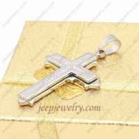 Natural stainless steel anti-abrasive cross pendent
