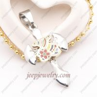 Colorful flower stainless steel sword pendent