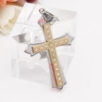 stary stainless steel double cross pendent