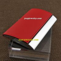 The 9.5 centimeter in length red leather alloy cardcase