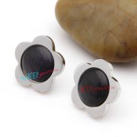 Beautiful Black Crystal and Silver Flower Pattern Of Stainless Steel Guys Earrings Studs