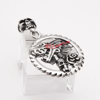 shiny gear shape ring dragon pattern pendant using stainless steel