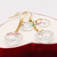 Transparent White Couples of Heart-Shape Fashionable style of Stainless Steel Earrings