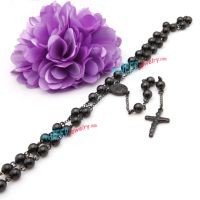 cross pendant black stainless steel necklace
