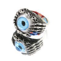 Blue Mysterious Eye Sterling Steel Skull Rings